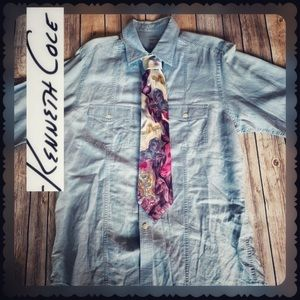 KENNETH COLE CHAMBRAY BUTTON DOWN M W/ JERRY TIE